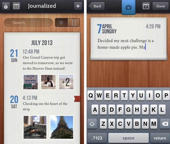 <p>This digital pocket journal allows you to organize short text, photo, and video entries by calendar view, and even share with social media (only if you want). Oh, and if you think you'll lose the habit quickly, don't worry: Journalized will remind you if you've been too distant.</p>