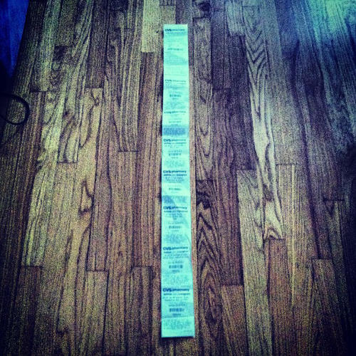 <p>&quot;Went to CVS to just get some peanut butter, and I got a 5 foot receipt for it.&quot; -- <a href=&quot;http://instagram.com/Mattcusson#&quot; target=&quot;_blank&quot;>@Mattcusson</a></p>