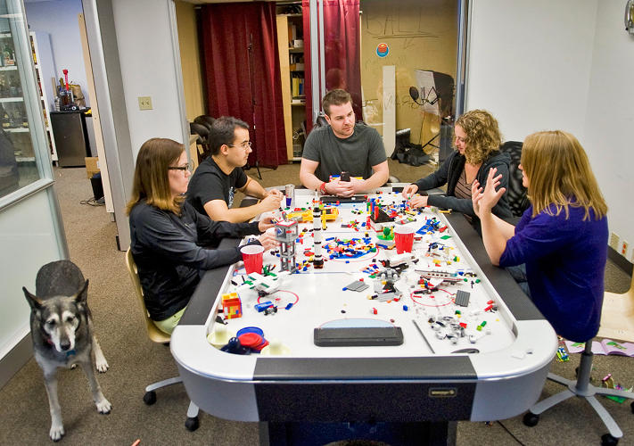 <p>A ShortStack brainstorming session over some legos.</p>