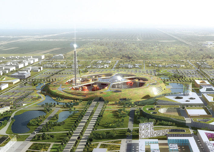<p>Mecanoo (Netherlands) wants to build a giant anthill in the heart of Astana. The architecture, if you can see it, is entombed in this artificial landmass, which is anchored by what seems to be a TV/telecommunications tower.</p>