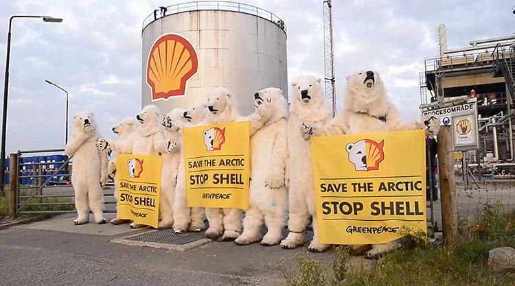 "<p>The image, designed by Danish activist Christian Uhlenfelt, shows half the Shell logo as the face of a sad polar bear. ""This is to expose the true face of Shell,"" one of the Greenpeace activists Helene Hansen, 28, told Co.Exist.</p>"