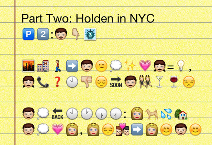 <p>Ah, Holden in New York! His big-city adventures begins with wanting to call Phoebe, but then realizing it's too late at night for that and subverting the urge, as we all do, into dancing with older ladies in a lounge. Prone to nostalgia, he reminisces about a highly idealized Jane and how they'd met over her dog peeing on his lawn.</p>