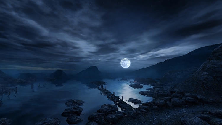 <p>Consequently, the locales of <em>Other Places</em> vary wildly, though each is gorgeous in its own way.</p>  <p>Above: &quot;The Island&quot; from <em>Dear Esther</em> (2012)</p>