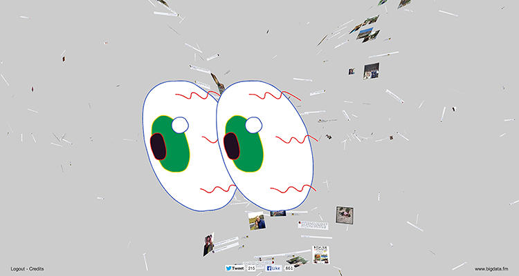 <p>The Facehawk occasionally pastes intentionally dorky graphics over its impressive 3-D visualization. Is Facebook &quot;watching&quot; you, or do these pat biological metaphors not really capture the social network's weirder, more alien way of using us?</p>