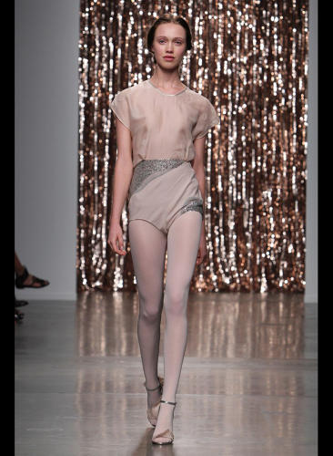 <p>The recent Tocca collection was ballet-themed, with white tights and gauze galore, inspired by a fully made-up dancer with her rehearsal clothes underneath. [Image via <a href=&quot;http://www.wwd.com/runway/spring-ready-to-wear-2014/review/tocca&quot; target=&quot;_blank&quot;>WWD</a>]</p>
