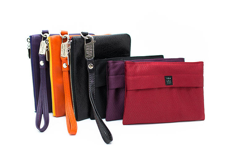 <p>Everpurse collaborated with high-end Chicago fashion designers 1154 Lill St. and Laudi Vidni to make stylish clutches in leather, available in crocodile skin patterns, and fabric models in five colors.</p>