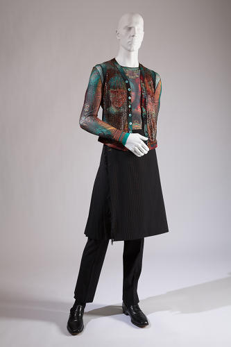 <p>John Paul Gaultier, ensemble with kilt and trousers, worn by Darrell Moos.</p>