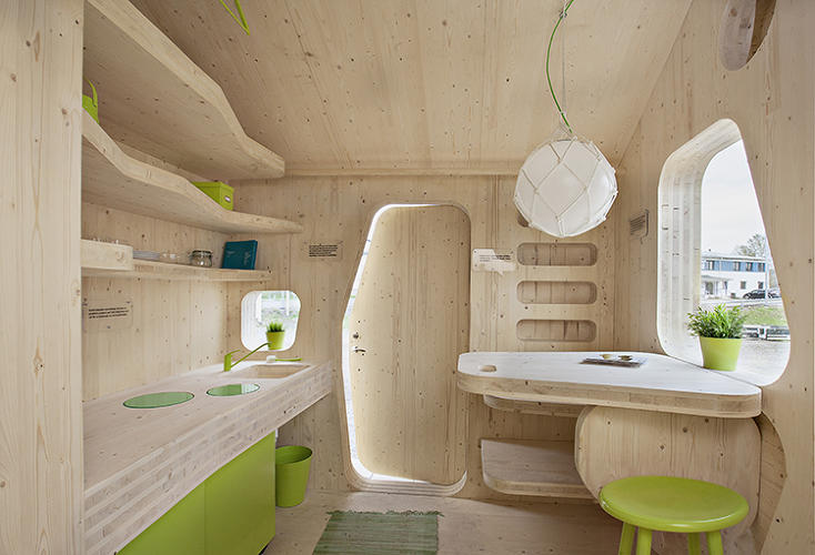 <p>The current space-efficient design, complete with a patio and vaulted sleeping area, lowers standard rent rates by 50%--music to the ears of any economically bereft twentysomething.</p>