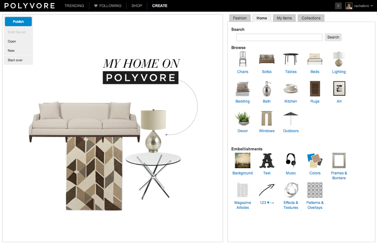 <p>Polyvore users can now create sets featuring home decor products the same way they make the fashion-themed sets the site has become known for since it launched in 2007.</p>