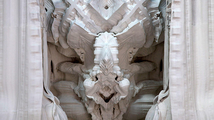 <p>The technology couldn't handle the intense intricacies of his work. His latest project, <em>Digital Grotesque</em>, is a nightmare of complexity, with a quarter billion surfaces to render.</p>