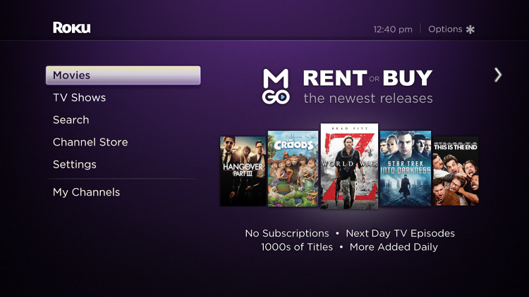 <p>Roku partnered with M-Go to build in video rentals and purchases.</p>