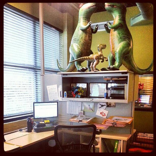 <p>Office dinosaurs, apparently. Click to the right for more productive and fun desk ideas and share your own by sending a tweet to @fastcolead with the hashtag #myawesomedesk.</p>