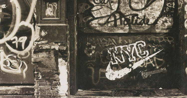 <p>To make W+K's &quot;Nike N.Y.C.&quot; campaign seem authentic, the swoosh decal was paibnted near actual street-ball courts and left up for weeks.</p>