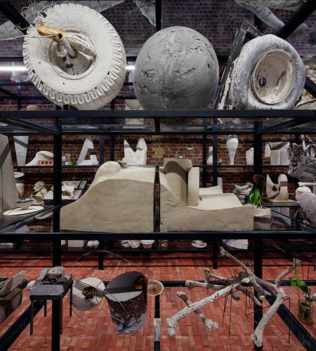 <p>The imaginative and imposing pieces in <em>Today We Reboot the Planet</em> test the limits of the ancient medium of clay.</p>  <p>Adrián Villar Rojas. Installation view, <em>Today We Reboot the Planet</em>. Serpentine Sackler Gallery, London. (28 September - 10 November 2013) © 2013 Jörg Baumann</p>