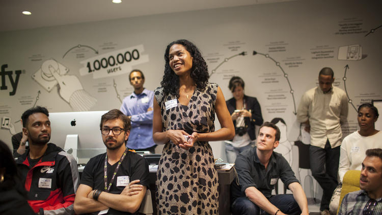 <p>The event's panel of judges included employees from Spotify, Pandora, and Union Square Ventures, among others.</p>
