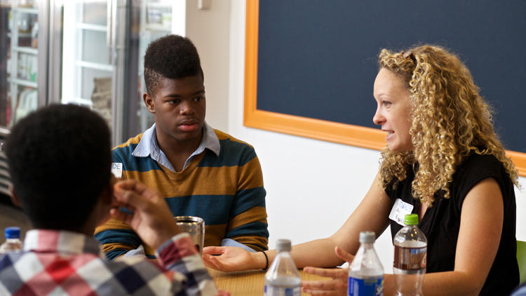 <p>Students sat down to lunch with Spotify employees who acted as volunteer mentors for the day.</p>