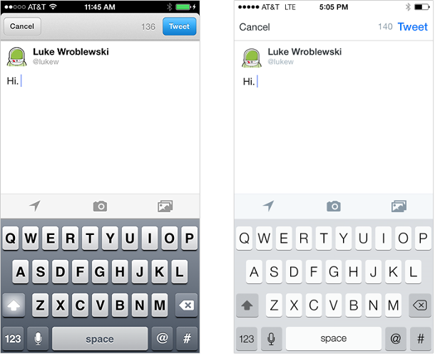 <p>&quot;Compare Twitter's compose screen on iOS 6 to the one on iOS 7: the lack of strong contrast between elements makes it less immediately apparent where the primary call to action (Tweet) is located,&quot; Wroblewski cautions.</p>