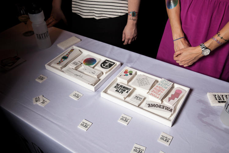<p>The Tattly tattoo station.</p>