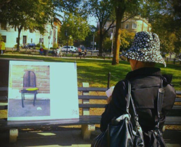 <p><em>Busted Lip Chair</em>: From the pop-up show, a chair from Montreal is displayed in Dupont Circle, Washington, D.C.</p>
