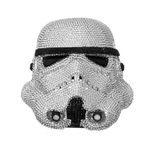 <p>Space bling.</p>  <p>Ben Moore. 'StormOffSki.' Acrylic Capped ABS Storm Trooper head encrusted in 6000 Swarowksi Xilion<br /> Rose Crystals. Seated upon revolving turn table (1.5 revolutions per<br /> minute) Artist: Ben Moore Image: Bran Symondson<br /> 2010. Signed by Ben Moore and Andrew Ainsworth.</p>