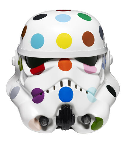 <p>Founder of Art Below and &quot;Art Wars&quot; curator Ben Moore commissioned 14 bigshot artists to give the original white Stormtrooper helmets flashy makeovers. Here, Damien Hirst's polka dot design adds a much-needed splash of color to the gritty gray Death Star.</p>  <p>Damien Hirst. Spot Painted Art Wars Stormtrooper Helmet, 2013.Household gloss on Stormtrooper helmet. Photographed by Prudence Cuming Associates. © Damien Hirst and Science Ltd. All rights reserved, DACS 2013</p>