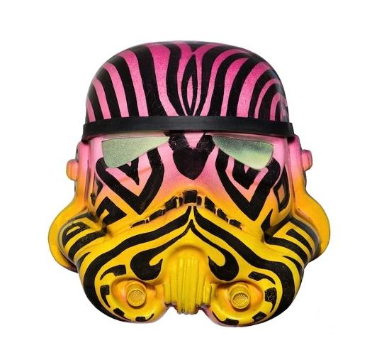 <p>In a galaxy far, far away, trippy zebra prints are very in.</p>  <p>Acrylic Capped ABS Storm Trooper head painted by Inkie.<br /> 2013. Signed by Inkie and Andrew Ainsworth. Image: Bran Symondson</p>