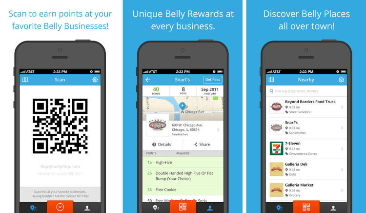 <p>You have dozens of loyalty cards (&quot;Buy 10, Get One Free!&quot;) in your desk. Most of them are for the same business, and they all have just one, or maybe two, stamps.</p>  <p>Belly puts them all in one place and allows you to claim your rewards on the go.</p>