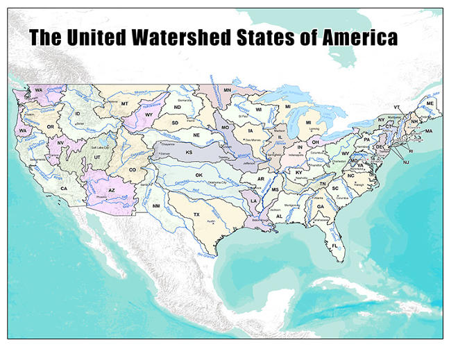 <p>This map shows what America would look like if it followed its watersheds.</p>