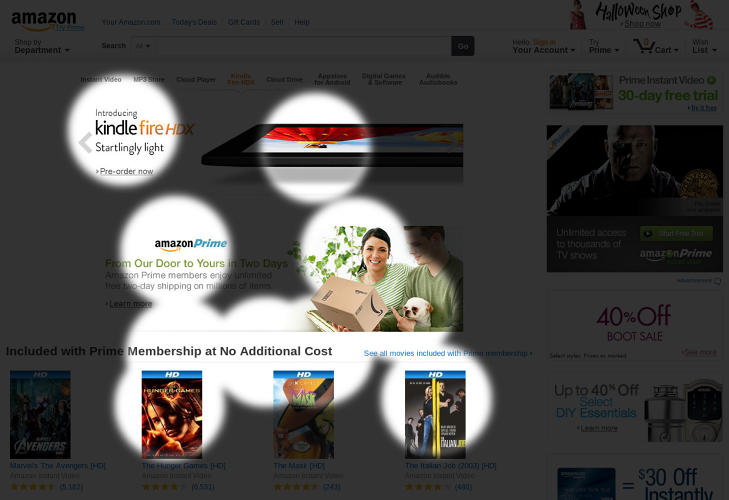 <p>According to EyeQuant, the eyes of Amazon users tend to stray towards the center of the page.</p>