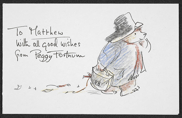 <p>Paddington Bear sketch sent to Curator Dr. Matthew Eve by Peggy Fortnum. Eve calls it &quot;unusual, sketchy line drawings, which she apparently drew straight onto tracing paper without any roughs or planning.&quot;</p>