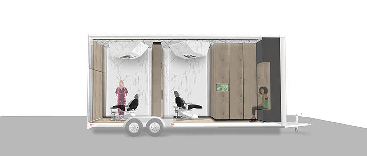 <p>Studio Dental is creating an alternative to the standard dentist's office--a 230-square-foot dentist office on wheels containing skylights, TV monitors, and 12-foot ceilings. It will travel around San Francisco and park itself in front of partner workplaces.</p>