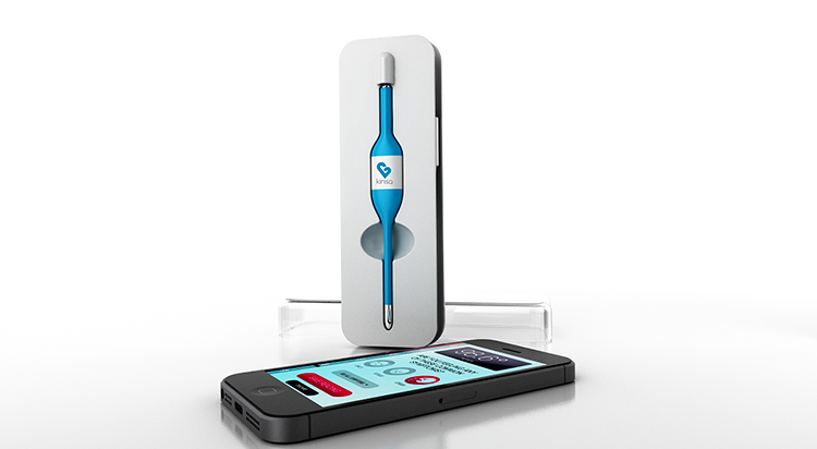 <p>Kinsa works like any thermometer, but instead of just delivering a measurement it syncs to an iOS app to provide larger context.</p>
