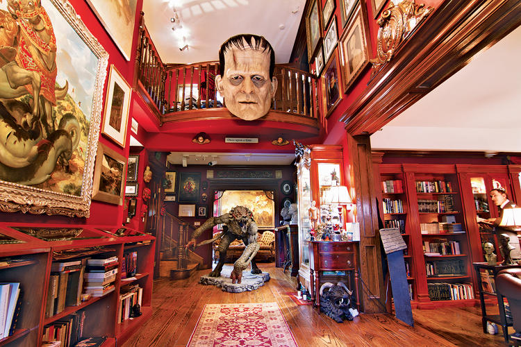 <p>Horror memorabilia crowds the foyer of del Toro's &quot;Bleak House.&quot;</p>