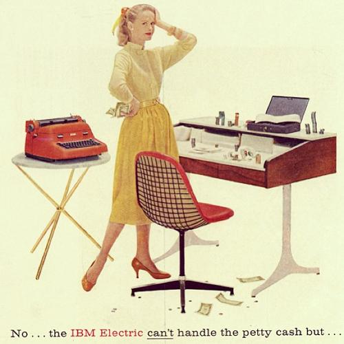 <p>An IBM ad that appeared in the <em>New Yorker</em> in 1957 featured an upholstered Eames wire chair and a George Nelson swag leg desk. Check out the full ad <a href=&quot;http://eamesdesigns.com/eames-spotting-article/no-the-ibm-electric-cant-handle-the-petty-cash-but/&quot; target=&quot;_blank&quot;>here</a>.</p>