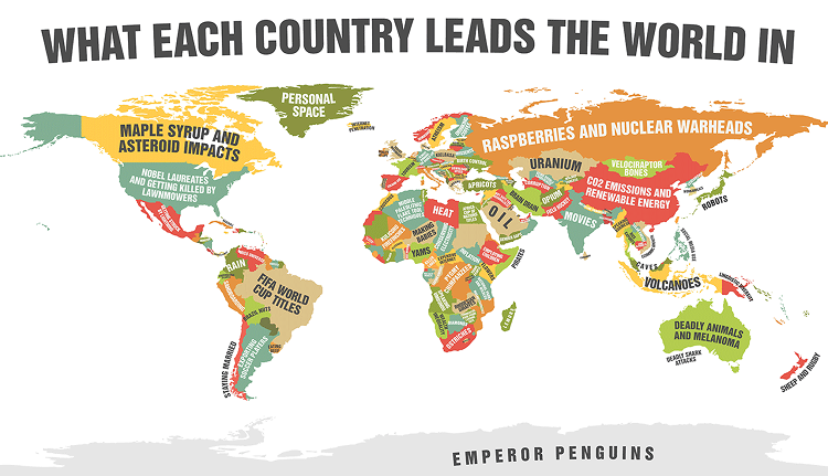 <p>With the help of this map, <a href=&quot;http://www.fastcocreate.com/3020280/creativity-by-the-numbers/this-map-shows-what-every-country-leads-the-world-in-and-its-not-e&quot; target=&quot;_self&quot;>we now all know </a>Mongolia leads the world in velociraptor bones.</p>