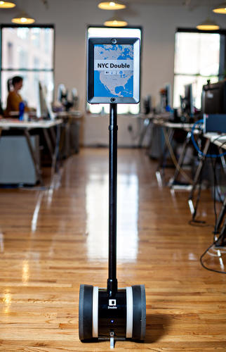 <p>Being perk-resistant doesn't mean being tech-averse. One fixture of the office is <a href=&quot;http://www.doublerobotics.com/&quot; target=&quot;_blank&quot;>Double</a>, an iPad on wheels that allows the Paris and New York employees to talk to each other &quot;face-to-face.&quot;</p>