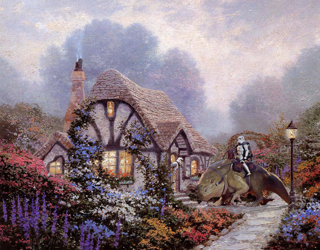 <p>At the time of his death in 2012, Thomas Kinkade was the most collected living artist in America, with an estimated one in 20 homes owning one of his original paintings. Apparently this made Darth Vader very jealous and angry, so he sicked his automaton army on Kinkade's cutesy compositions.</p>