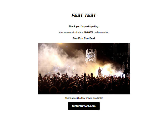 <p>The FestTest determines your cool factor (and also will sell you a ticket).</p>