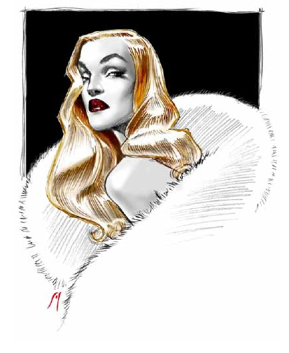 <p>&quot;In 1930s Hollywood, it was blondes who saved the box office, from Jean Harlow, Jayne Mansfield, Veronica Lake to Carol Lombard, Marlene Dietrich and Joan Crawford,&quot; writes Philippon. &quot;In the 1950s it was the unforgettable Marilyn.&quot; Here,&quot;Hollywood Killer Wave,&quot; a drawing by Stefano Canulli, 2013.</p>