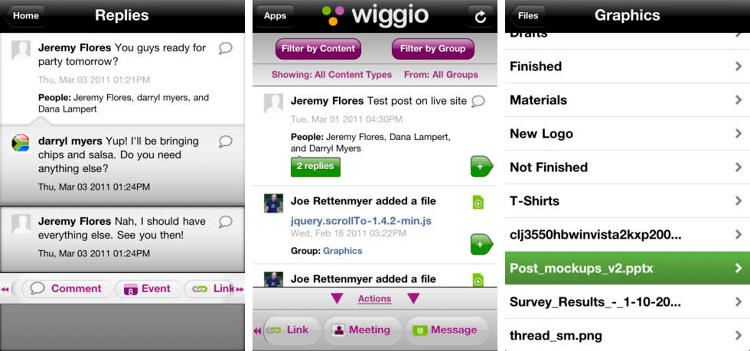 <p>Wiggio is a (free!) set of collaboration tools so you and your team can get organized without breaking the bank. (<a href=&quot;https://itunes.apple.com/us/app/wiggio/id424059394&quot; target=&quot;_blank&quot;>iOS</a> and <a href=&quot;http://wiggio.com/&quot; target=&quot;_blank&quot;>web</a>)</p>
