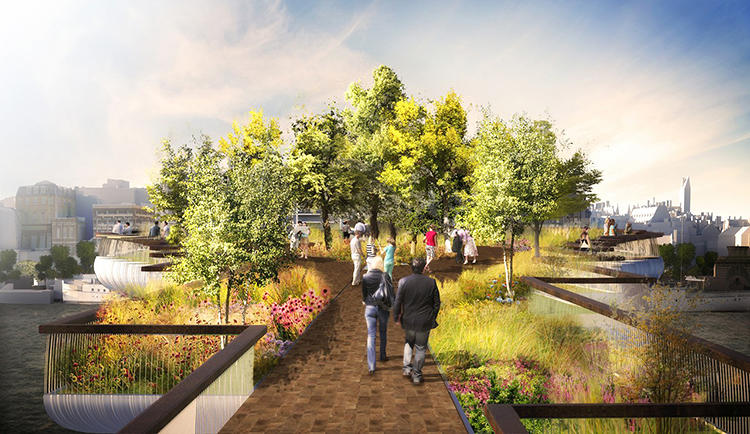 <p>The Garden Bridge would contain a mass of flowers, grasses, shrubs, trees, walkways, and benches.</p>