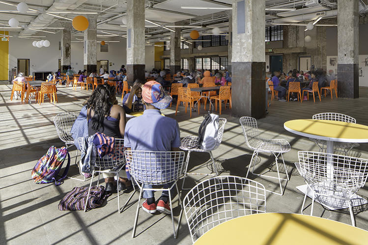 <p>Local designers and universities donated items to the secondary school, including these wire Bertoia Side Chairs courtesy of Morgan State University.</p>