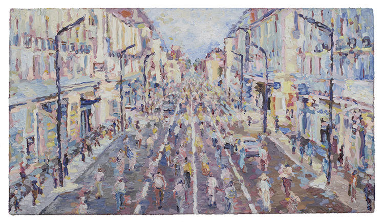 <p>He chose this style of painting--which he first became interested in as a child, thanks to his father's love of artists like Alfred Sisley--because it emphasized the hazy boundaries between the zombie and the environment.</p>
