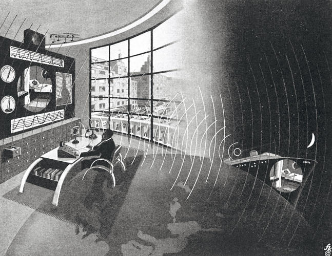 "<p>&quot;An example of Kahn's talent for visual storytelling, it presents two different locations at the same time: A doctor sits in his loft-like and modern furnished urban practice, using TV and other electronic devices to give a consultation to his patient aboard a cruise ship named <em>India</em>. Both settings are connected by overlaid radio waves and a hinted globe.""</p>"