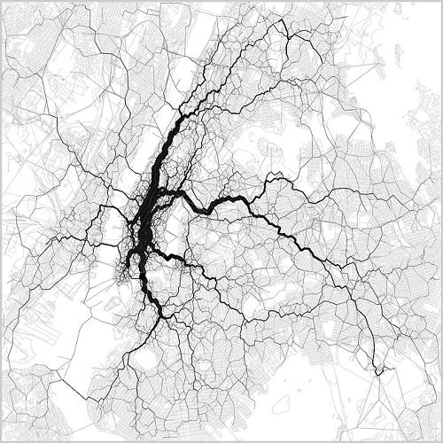 <p>Paths through New York City, by artist Eric Fischer. A &quot;Flow Map&quot; of New York City derived from the locations of tweets tagged with the locations of their senders.</p>