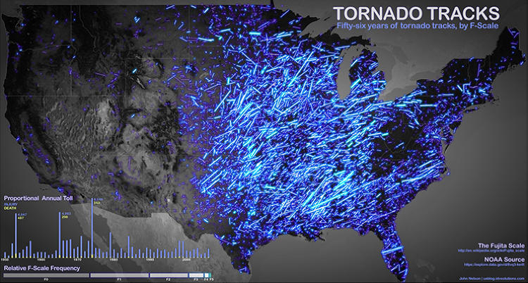 <p><a href=&quot;http://www.fastcodesign.com/1669925/infographic-56-years-of-americas-most-terrifying-tornadoes&quot; target=&quot;_self&quot;>Tornado Tracks:</a> 56 Years of Tornado Tracks as monitored by the National Oceanographic and Atmospheric Administration (NOAA), with brightness tied to F-scale, by John Nelson.</p>