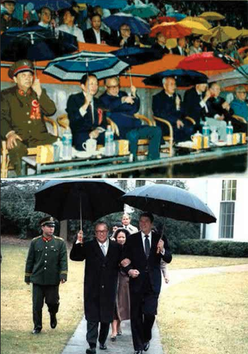 <p>Once upon a time in the East, China's leaders held their own umbrellas--here's Premier Zhao and Ronald Reagan in 1984.</p>