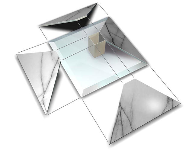 <p>Since the interior of the pyramid is actually hollow, the table only weighs 40 kg.</p>