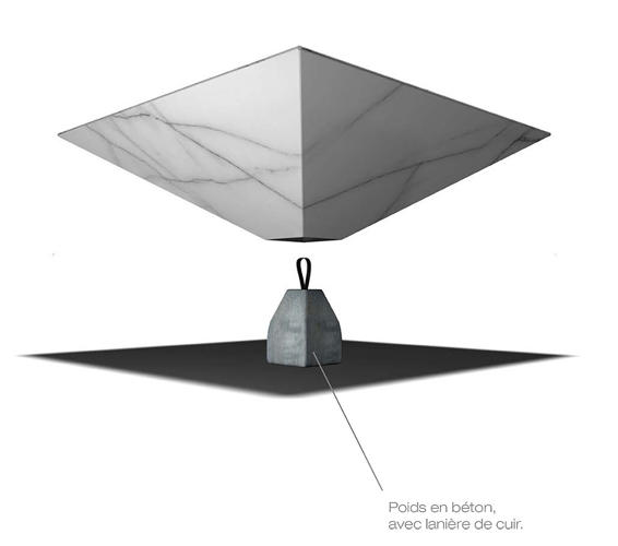<p>Grilo's idea to up-end the pyramid adds to the impression that the table is floating at floor-level.</p>