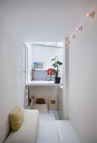 <p>Up a Donkey-Kong-like ladder, there's another space for studying, and down a separate set of stairs, a bedroom. A final set of stairs leads to the bathroom.</p>